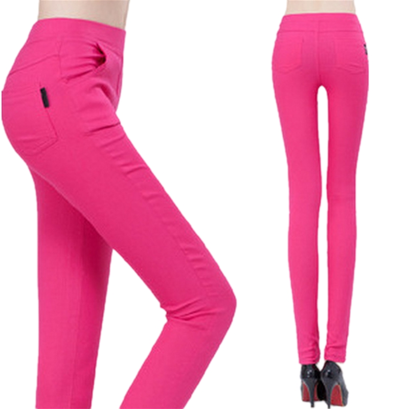 Women new 2016 spring autumn candy color high waist slim straight trousers plus size casual pencil pants female trousers S2819