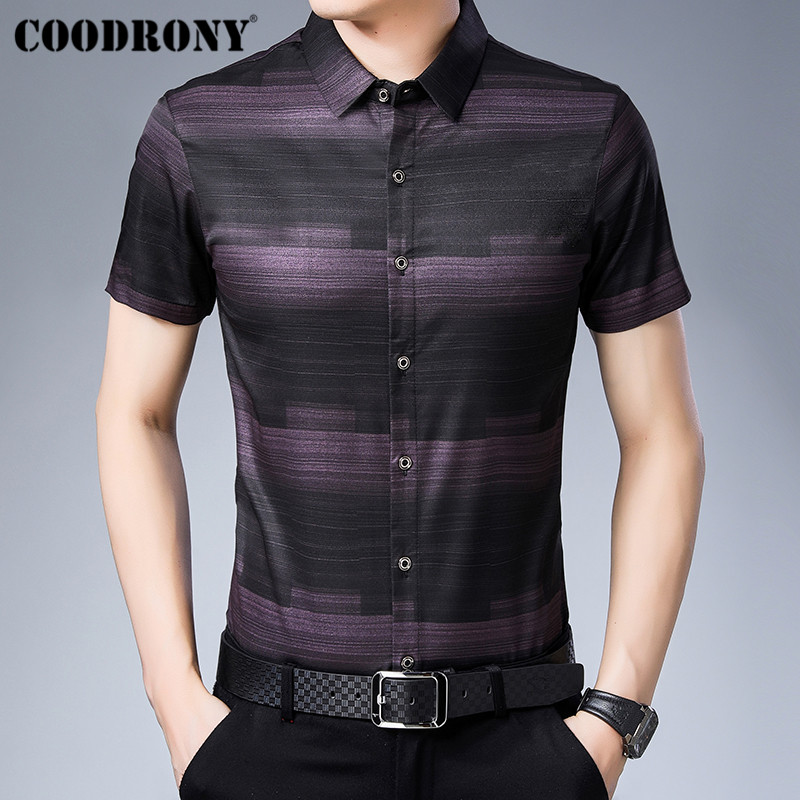 COODRONY Social Business Casual Shirts Camisa Masculina 2019 Summer Cool Short Sleeve Men Shirt Fashion Striped Shirt Men S96025