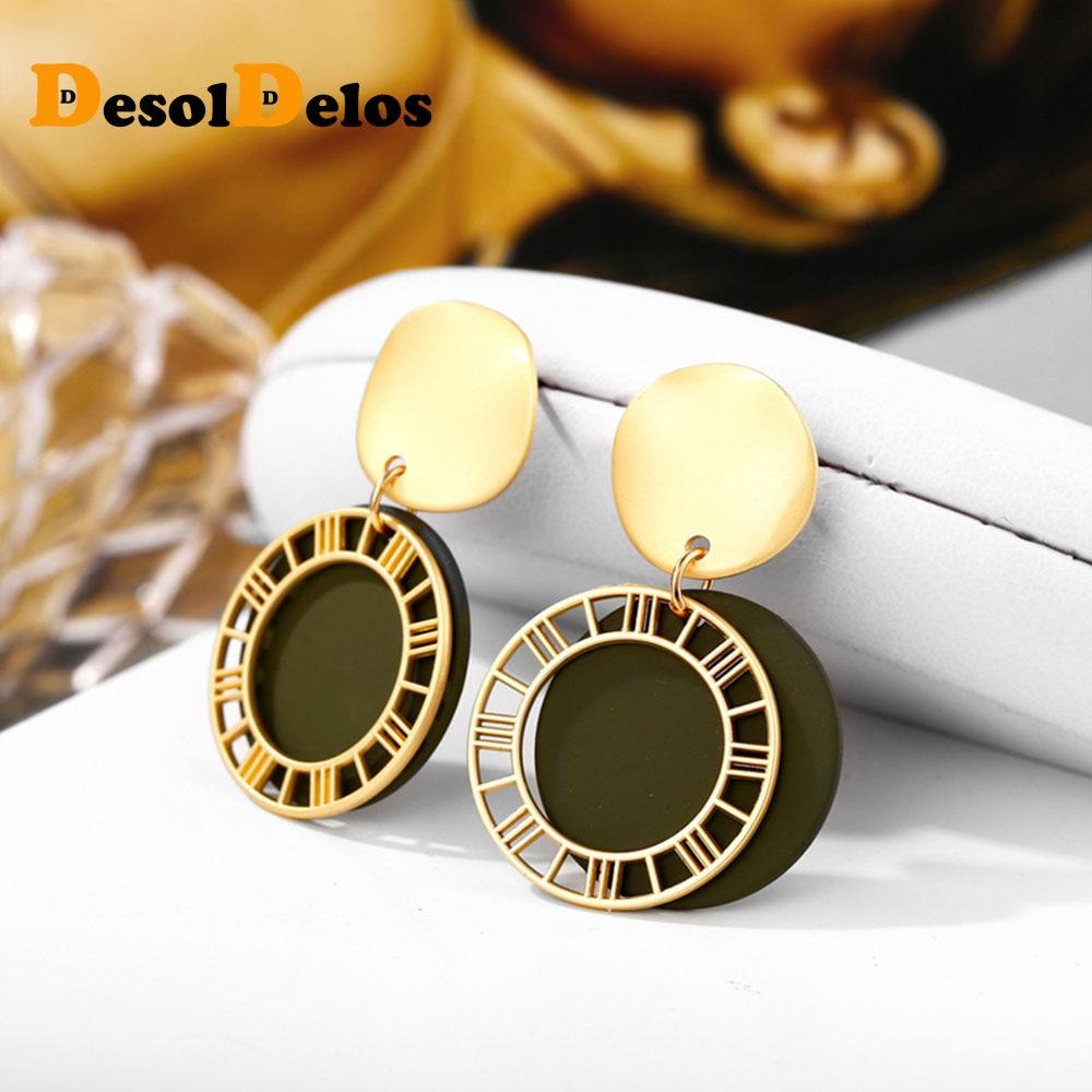2019 New Summer Fashion Candy Geometric Stud Earrings For Women Girls Bohemian Round Pendant Earring Female Fashion Jewelry in Stud Earrings from Jewelry Accessories