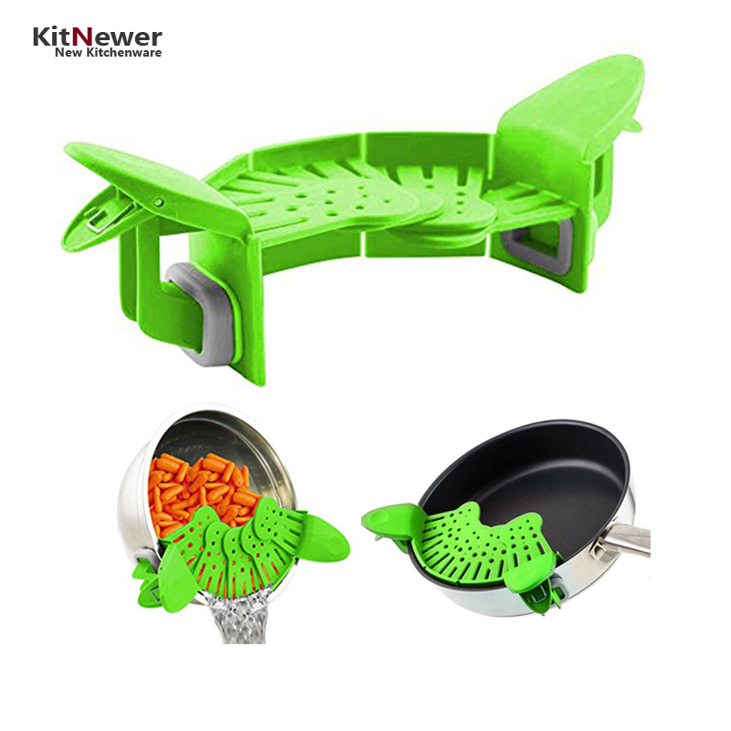 Multifunction Funnel Strainer Leak Proof Noodles Filter Vegetable Drainer Colander Silicone Rice Wash Isolator Kitchen Gadgets