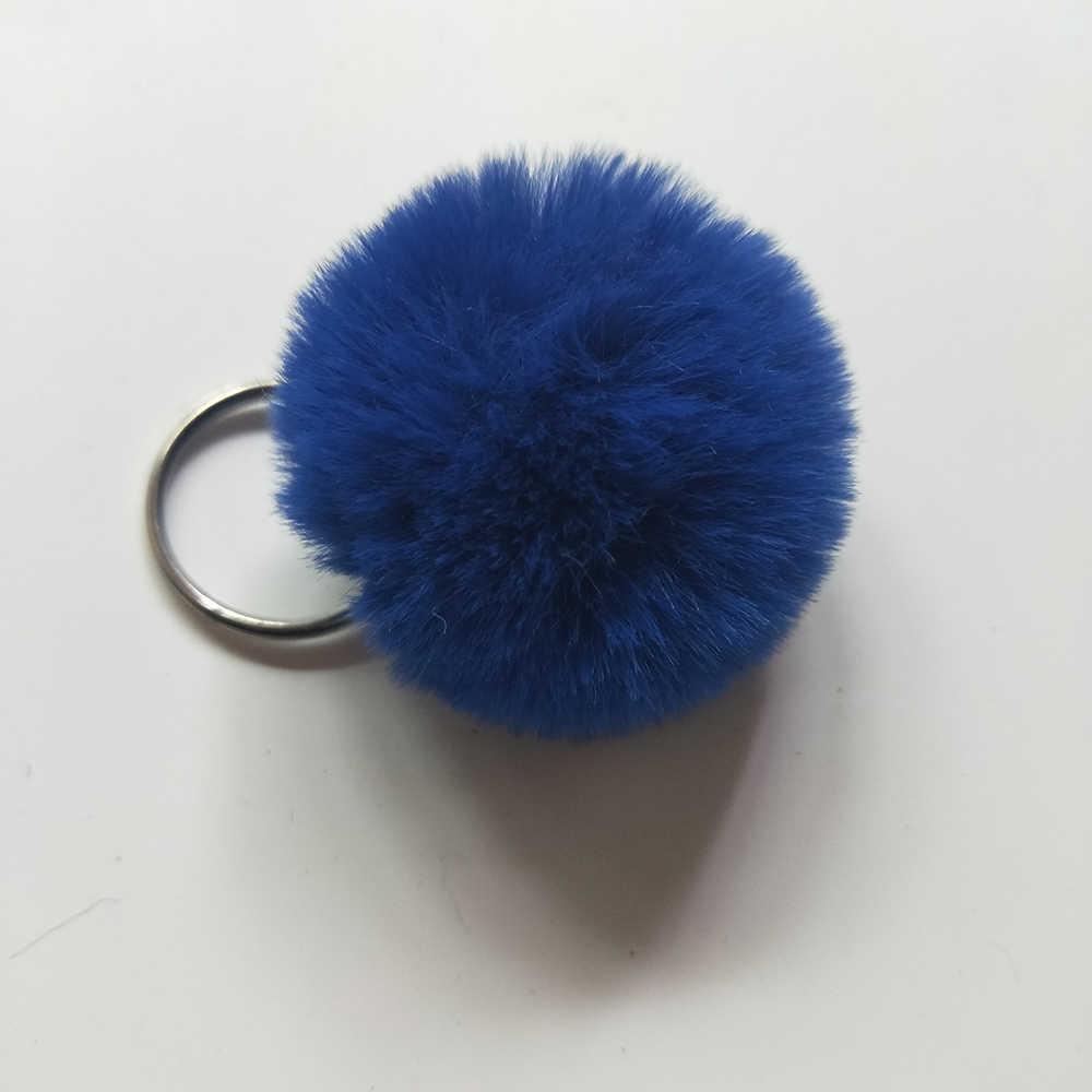 13 Cores Novo 4 cm Mini Adorável Fluffy Rabbit Fur Bola Chave cadeia Pompom Mulheres Saco Anel Chave Do Carro Chaveiro de Pele De Coelho Artificial