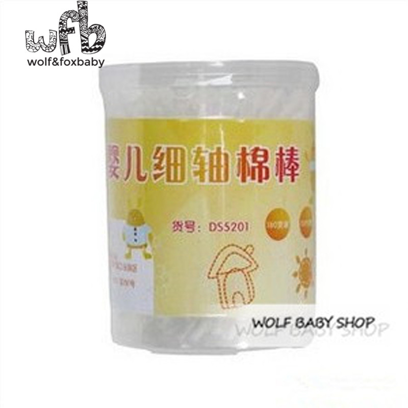 Wholesales 900pcs/lot baby cotton double-end swab thin stick baby cotton swab 180pcs/can baby cotton swab child with can 2014