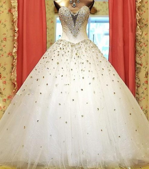 free shipping vestido de noiva casamento 2016 New fashion sweetheart Luxury rhinestone wedding dress custom bridal ball gown