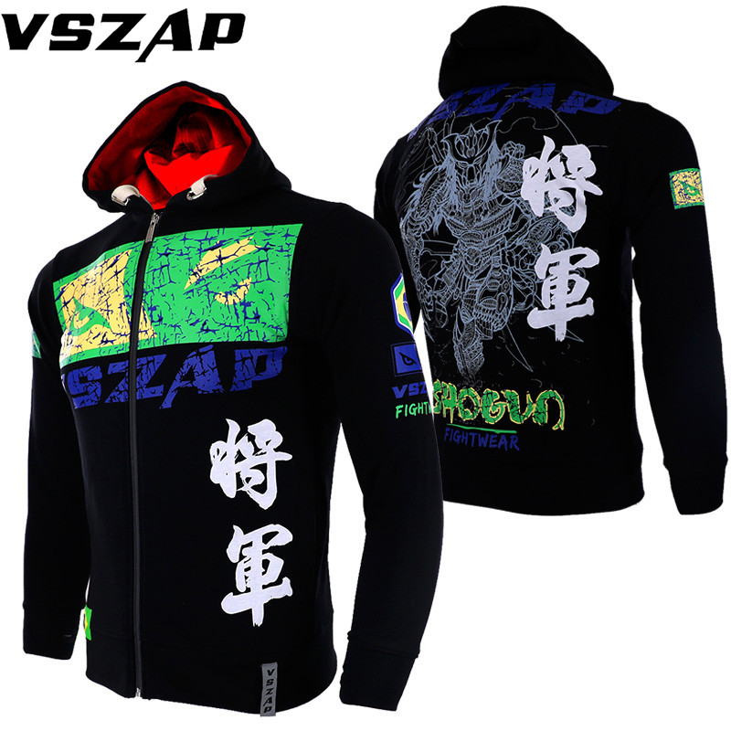 VSZAP Warm Boxing MMA Sweatshirts Gym Cloth Shirt Fighting Fighting Martial Arts Fitness Training Muay Thai Jacket Men Homme