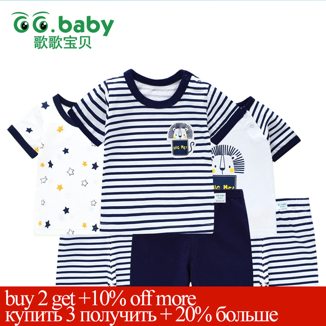 3suits/Lot Baby Summer Clothing Set Cotton Short Sleeve Kids Sets Striped T-shirt Shorts Outfit For Boys Baby Girl Suits Clothes