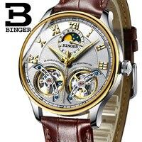Прохладный Moon Phase для мужчин деловые часы преувеличены двойной Tourbillon с автоподзаводом часы водостойкие из натуральной кожи часы с римскими