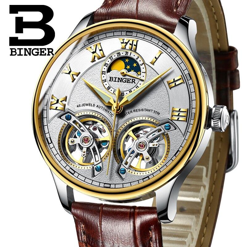 Cool lune Phase hommes montres mécaniques exagérées Double Tourbillon montre à remontage automatique étanche en cuir véritable montre romaine 3Bar