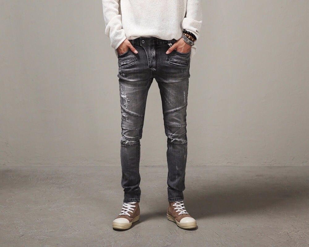 Mode Gris Pour Hiphop 2016 Célèbre Crayon Mâle Affligée Pantalon Hommes Marque Jeans Mince Lavé Biker De gwqnwfvCT