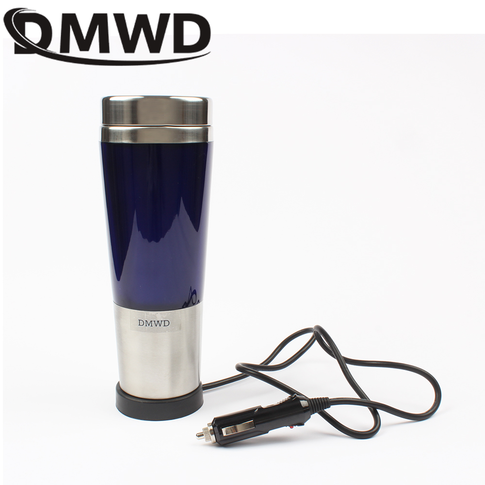 DMWD car hot Water Heater cup Travel heating mini thermal electric kettle teapot Stainless steel bottle Coffee Tea Mug 12V 24V automatic food processors coffee mixing cup mug blew stainless steel self stirring electric coffee mug 350ml six color h 025