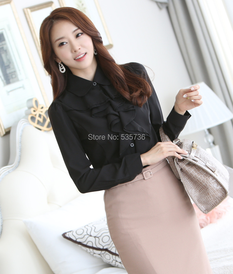 7 08 13 De Descuento 2018 Whiite Chifon Blusa Camisa De Manga Larga Mujer Camisas Moda Coreana Volantes Senoras Negro Oficina Blusas Mujeres