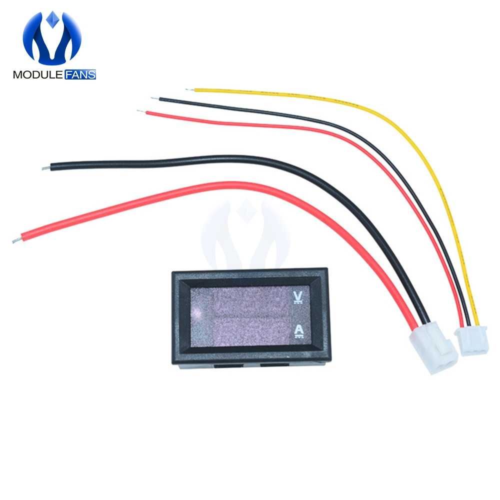 "Mini voltímetro Digital amperímetro 0,28 pulgadas CC 100V 10A Panel Amp voltímetro de corriente probador 0,28 ""Azul Rojo pantalla LED Dual 20mA"