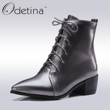 77a65d08a Odetina 2017 New Handmade Large Size Pointed Toe Ankle Boots for Women Mid  Heels Lace Up Booties with Chunky Heel Patent Leather