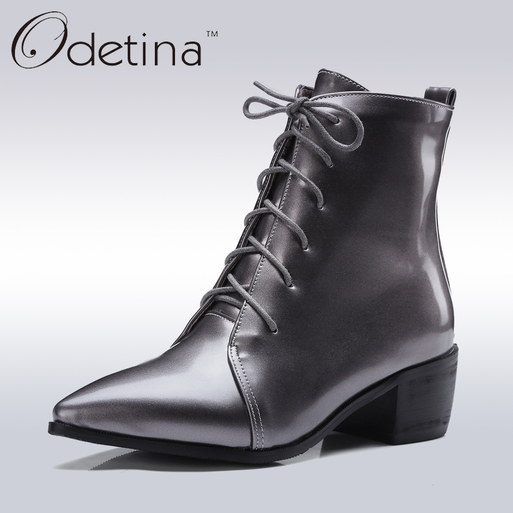 ed4bdaabb405 Odetina 2017 New Handmade Large Size Pointed Toe Ankle Boots for Women Mid Heels  Lace Up Booties with Chunky Heel Patent Leather