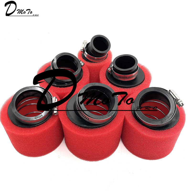 Red 32mm 35mm 38mm 42mm 45mm <font><b>48mm</b></font> Bend Elbow Neck Foam <font><b>Air</b></font> <font><b>Filter</b></font> Sponge Cleaner Moped Scooter Dirt Pit Bike Motorcycle Kayo BSE image