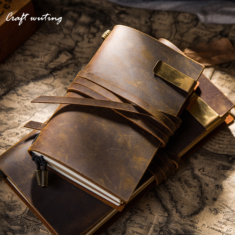 Hot Sale 100% Genuine Cow Leather Cover Retro Traveler's Notebook Diary Journal Vintage Handmade Travel Note Book Pocket Planner vintage traveler s notebook cowhide diary handmade journal 100% genuine leather spiral looes leaf diy