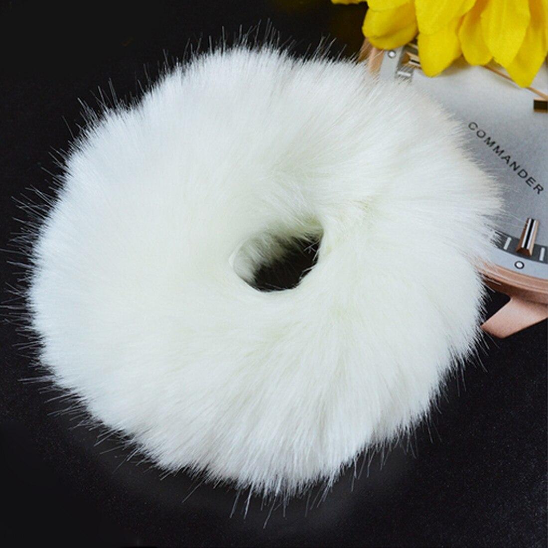 Новинка, настоящая меховая кроличья шерсть, мягкие эластичные резинки для волос для женщин и девочек, милые резинки для волос, резинка для хвоста, модные аксессуары для волос - Цвет: Белый