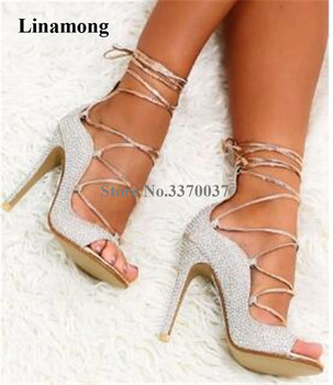 Women Luxurious Bling Bling Rhinestone Stiletto Heel Gladiator Sandals Lace-up Silver Crystal High Heel Sandals Wedding Heels фото