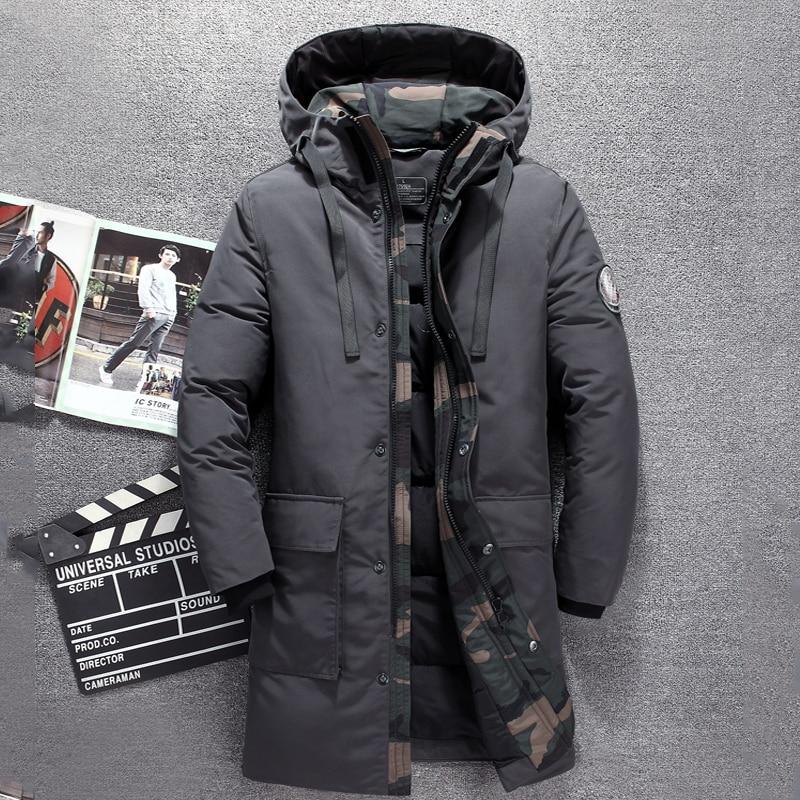 2018 Hiver long duvet de canard veste hommes marque de Tace & Shark camouflage épais hommes vers le bas veste coupe-vent chaud long manteau pour hommes