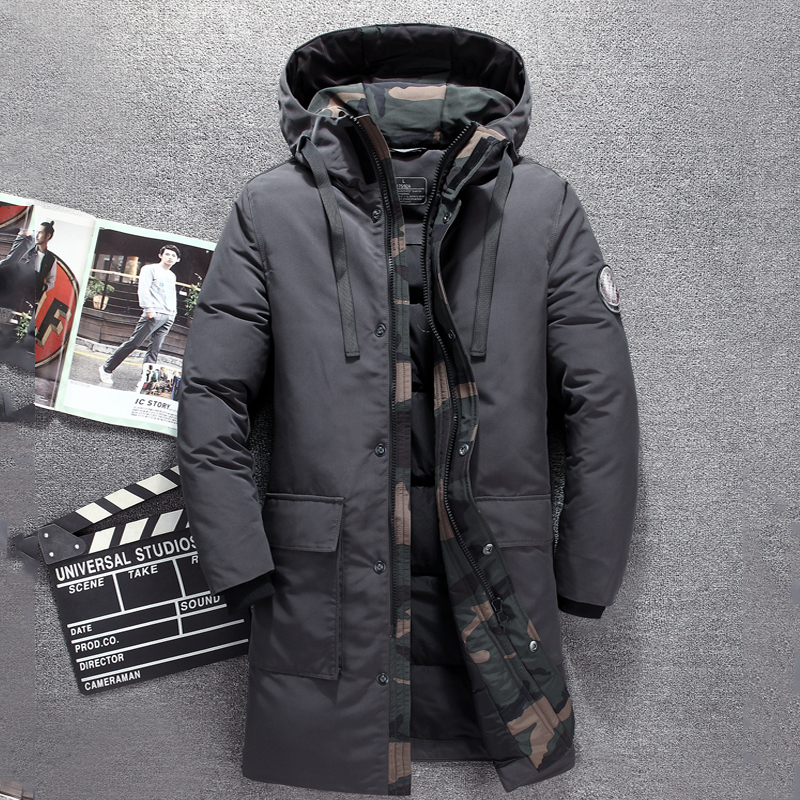 2019 Winter long duck   down   jacket men brand Tace & Shark camouflage thick men's   down   jacket warm windbreaker long   coat   for men
