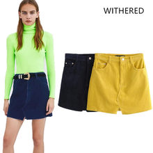 625268aa13f Withered 2018 BTS skirt women england style corduroy solid zipper fly  natural above knee mini skirts womens plus size 0916