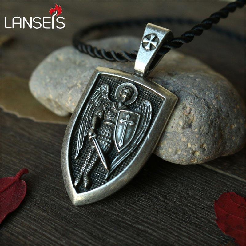 Lanseis 1 stücke dropshipping männer halskette Archangel St. Michael Protect Me Saint Schild Schutz Charme russische orhodox anhänger