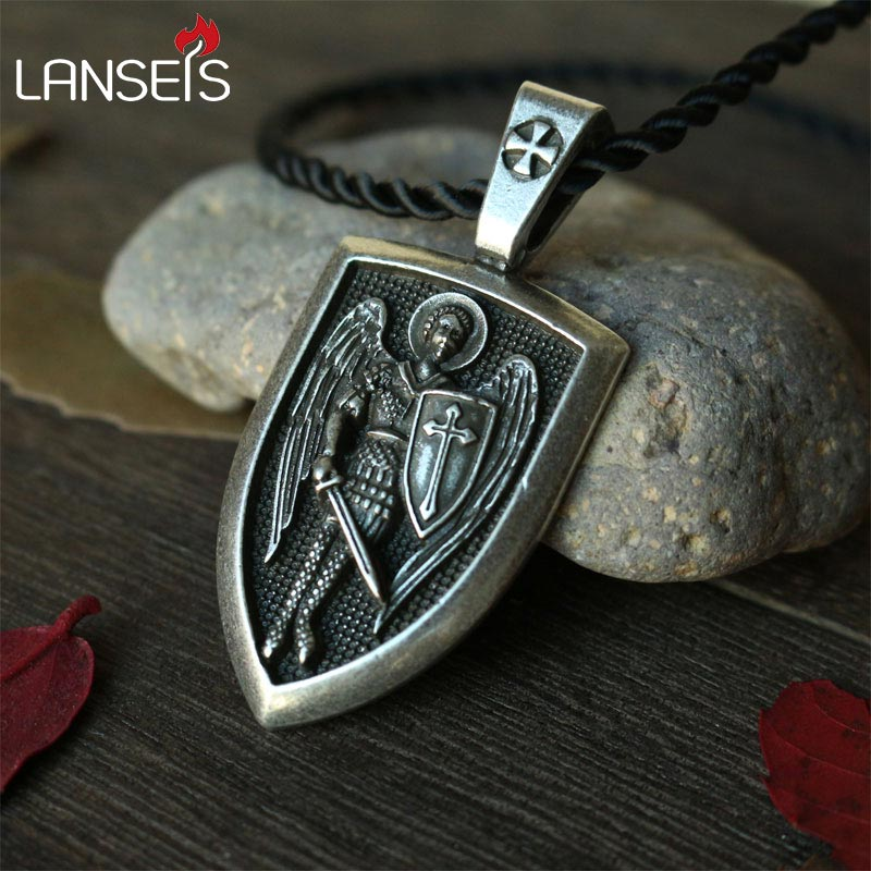 lanseis 1pcs dropshipping men necklace Archangel St.Michael Protect Me Saint Shield Protection Charm russian orhodox pendant