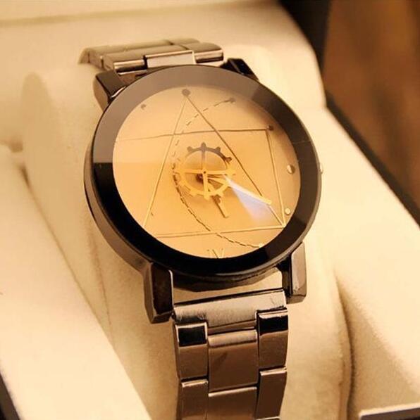 Fashion Creative Women Men Watches 2017 Compass needle Full Stainless Steel Quartz Watch Ladies Dress Lover Wristwatch Clock 2016 new simple color block rivets design women s shoulder bag