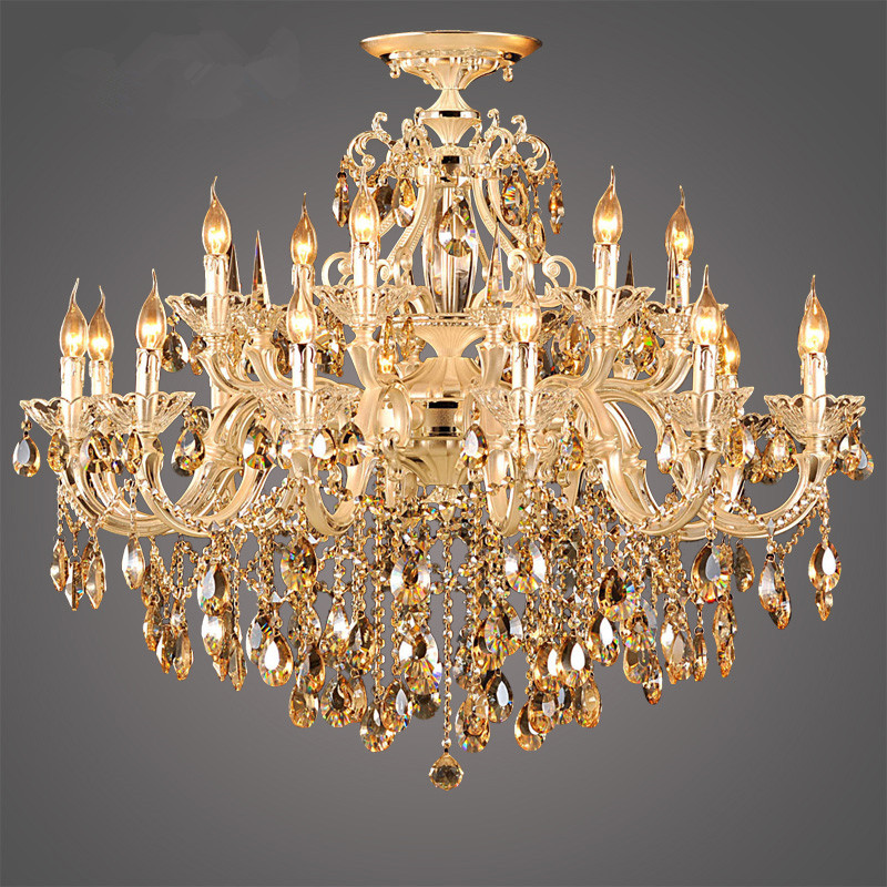 Modern Luxury 9K Gold Crystal Chandelier Large Lustre Cognac Living Room  Lighting Luminaire Hanging Lamp Home Lighting Fixtures