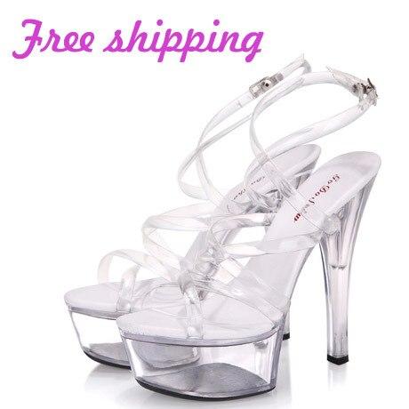 4edebcf8296 Transparent belt 15cm high-heeled shoes platform sandals steel pipe dance  shoes wine glass with