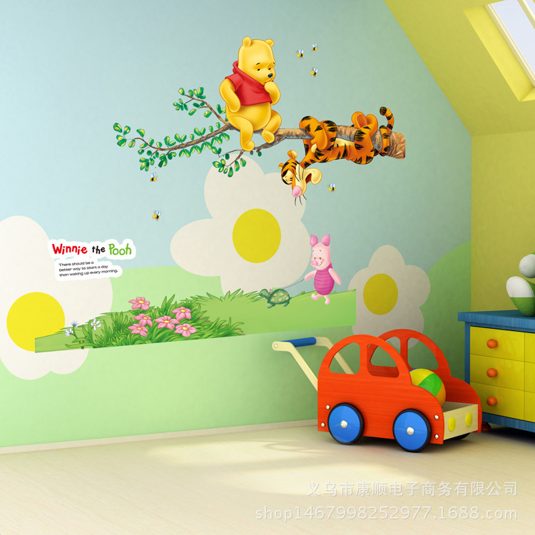 Winnie the Pooh friends wall stickers for kids rooms decorative sticker adesivo de parede removable pvc wall decal free shipping in Wall Stickers from Home Garden