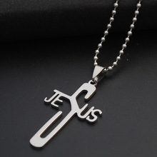 Christian faith English Jesus necklace stainless steel letter JESUS cross personality