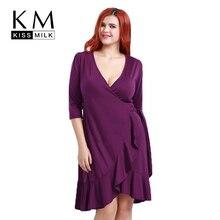 купить Kissmilk Plus Size New Fashion Women Clothing Casual Half Sleeve Wrap Fold Dress V-Neck Tied Ruffles Big Size Dress 3XL 4XL 5XL  по цене 1385.3 рублей