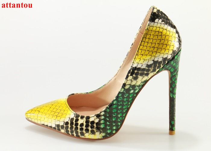 2017 Fashion yellow snakeskin high heels woman dress shoes thin heel female pumps slip-on pointed toe party shoes stiletto heels