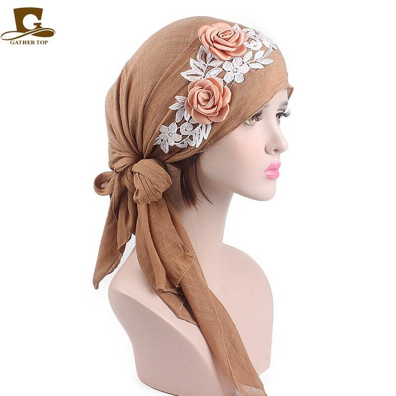 Elegant Women Pre-Tied Cotton Beautiful Head wrap turban cap 3D flower lace HeadScarf Chemo Cancer cap