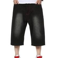 Мужчины Черные Мешковатые Джинсовые Шорты Хип-Хоп Новый 2017 Мужской Скейтбордист джинсы Шорты Hip Hop Уличная Письма Печатаются На Бедра Плюс размер