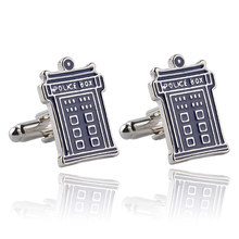Doctor Who TARDIS Cufflinks For Men Blue Police-Box Cufflink Doctor Who DR Perfect Wedding Groomsmans Gift printio bad wolf doctor who