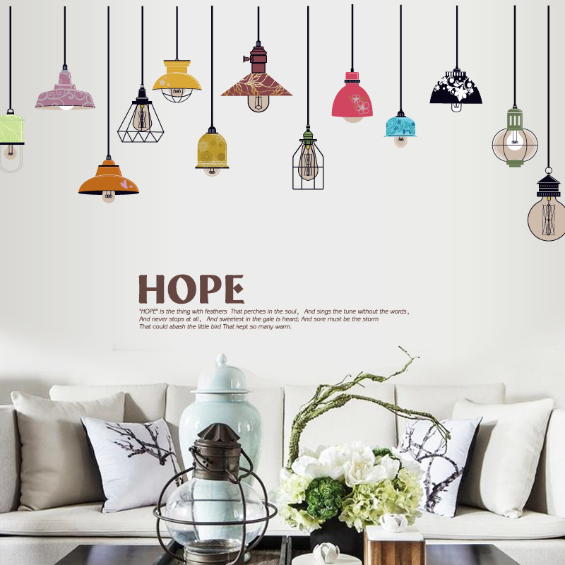 Hanging Lamp Wall Sticker: Free Shippin Retro Toilets Hanging Lamp Wall Sticker
