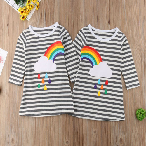 Sisters Twins Girls Princess Dress Rainbow Clouds Print Baby Girl Birthday Party Clothes Long Sleeve Autumn Toddler Dress NewSisters Twins Girls Princess Dress Rainbow Clouds Print Baby Girl Birthday Party Clothes Long Sleeve Autumn Toddler Dress New