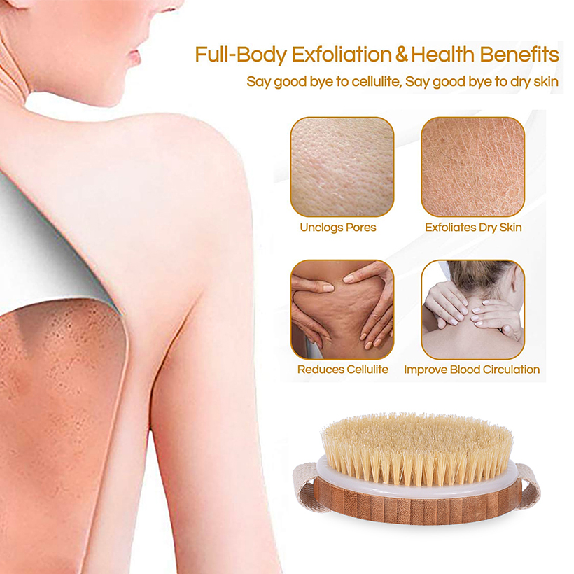 Treesmile Dry Brushing Body Brush Exfoliator Skin Natural Bristle