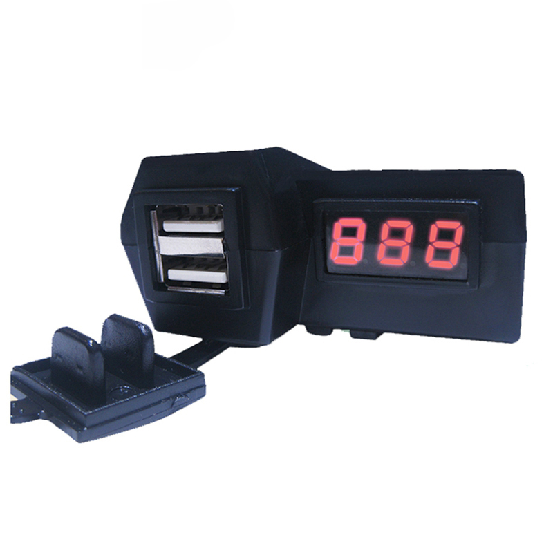 12V Waterproof Motorcycle ATV Scooter Dual USB With LED Digital Display Voltmeter Voltage Power Socket Charger Power Switch