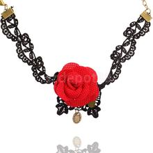 Women Gothic Black Lace Red Flower Anklet Handmade Chain Foot Ankle Bracelet