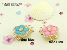 New 2014 Spring Sweet Girl Fashion Brand 18K Gold Flower Hair Pin Accessories Crystal Flowers Clips For Women