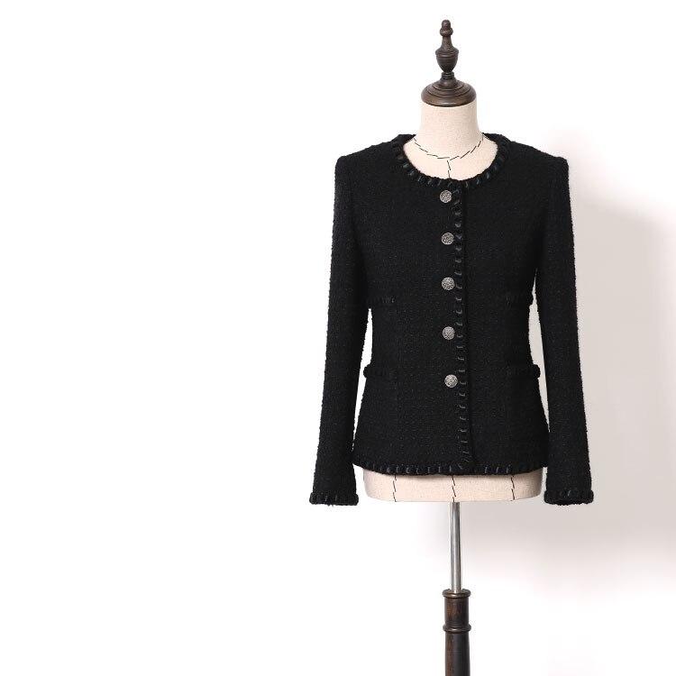 ใหม่ WT0001 ลมมีกลิ่นหอมเล็กๆฤดูใบไม้ร่วงฤดูหนาวผู้หญิงสวมใส่สีดำขนสัตว์ heavy duty tweed สั้นความหนา-ใน แจ็กเก็ตแบบเบสิก จาก เสื้อผ้าสตรี บน   1