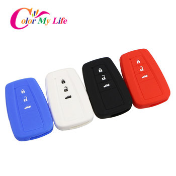 Color My Life Silicone Remote Car Keychain Key Cover Case Fit for Toyota Camry CHR C-HR Prius Corolla RAV4 Prado 2016 2017 2018 image