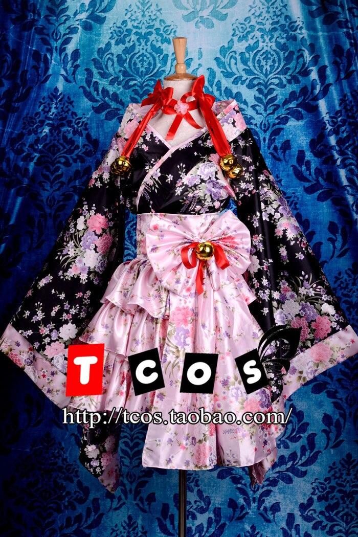 ⊱Brdwn Lolita Cosplay del kimono de las mujeres gótico noche ...