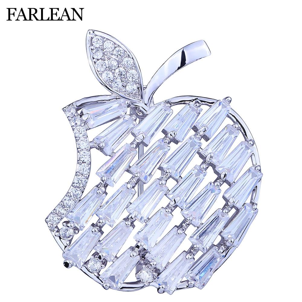 FARLENA font b Jewelry b font Cute apple Brooch Inlay with Zirconia Cubic Fashion CZ font