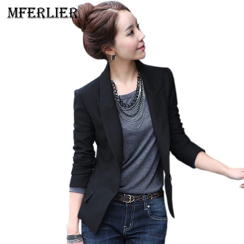 Mferlier Vintage Women blazer and Jacket autumn Winter Ladies Suit Blaser Outerwear Slim ...