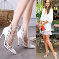 Sexy Ladies' High Heeled Gladiator Pumps Shoes Female' Cross Strap Sling Back Pumps High Heels Women Cut Out Lace up Shoes Pump