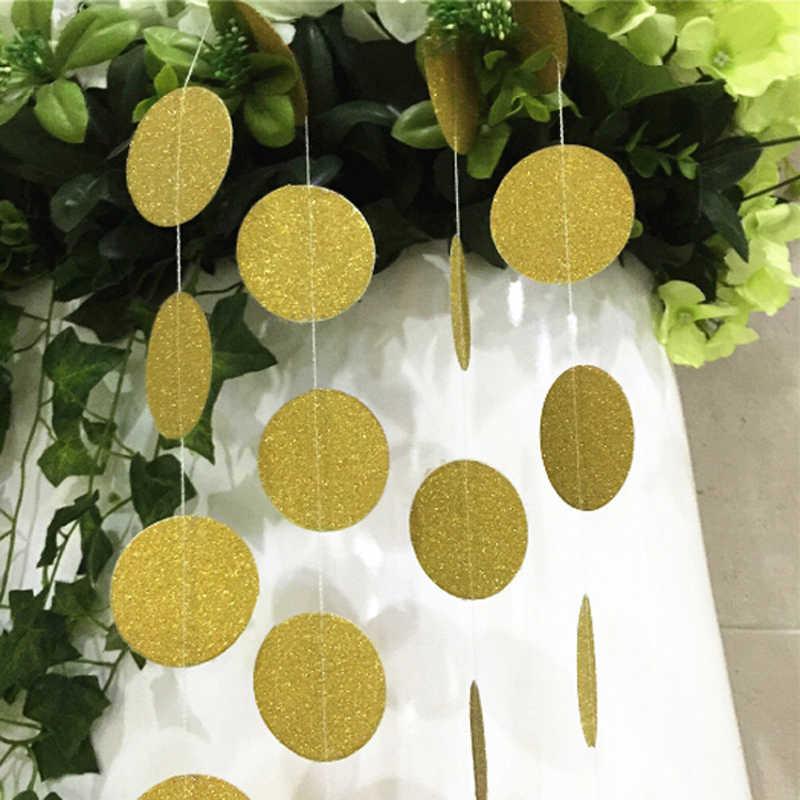 3 M 40 Miếng Vàng Hồng Bunting Treo Vòng Hoa Valentine Sinh Nhật Cưới Vòi Tắm Hoa Sen Trang Trí Phòng Giấy Vòng Vòng Tròn Dây