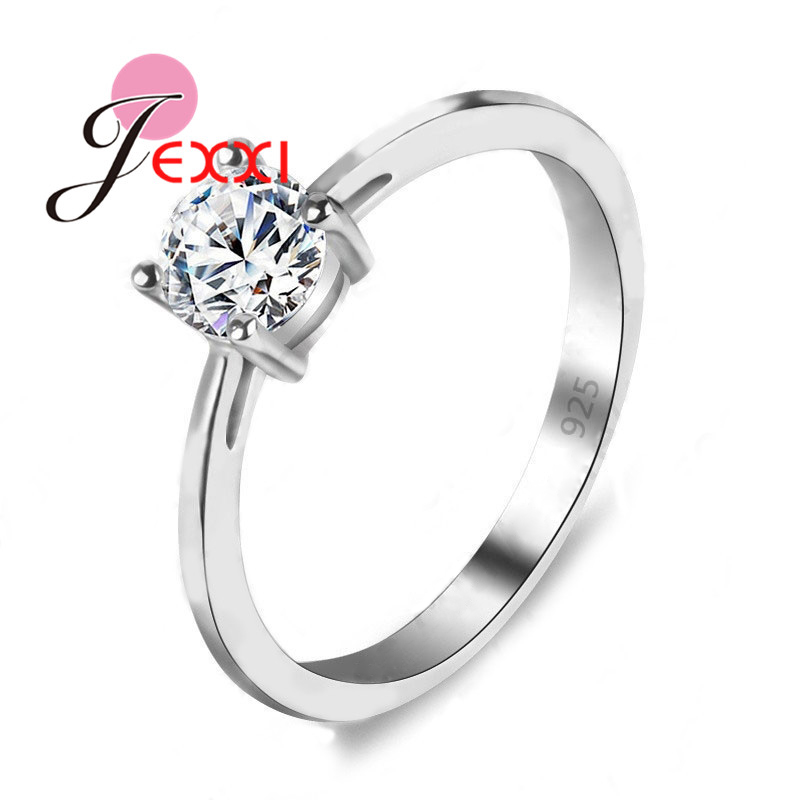 JEXXI Lose Money Promotion Hot Sell Super Shiny Cubic Zircon 925 Sterling Silver Wedding Rings For Women Jewelry Wholesale